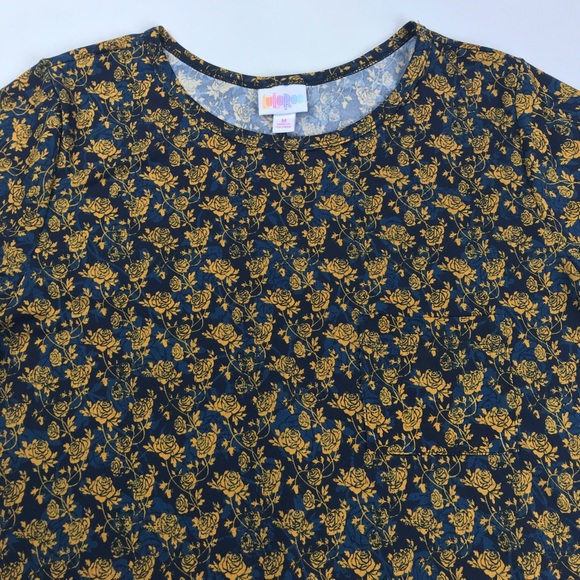 f2063fc4d90ab LuLaRoe Carly Dress Blue   Gold Rose Print (M 14)